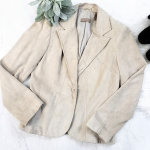 i.e. Tan Genuine Suede Leather Blazer Jacket